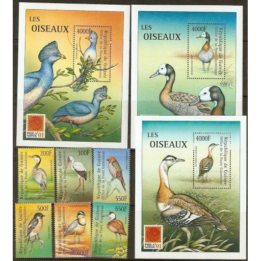 GUINEA 2001 PHILA NIPPON SET+3 M/SHEETS MNH
