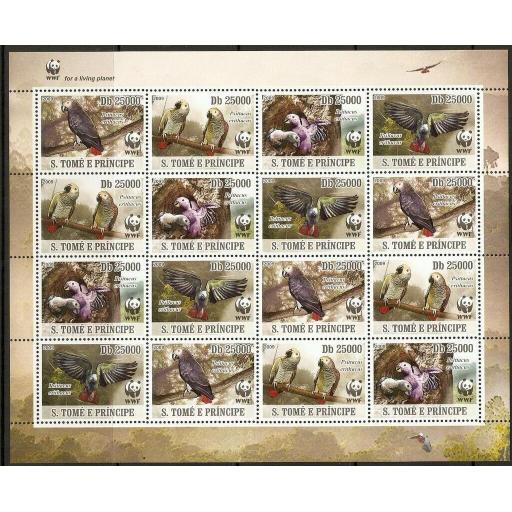 ST.TOME PRINCIPE 2009 WWF BIRDS SHEETLET MNH