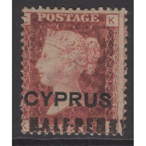 CYPRUS SG7 pl.201 1881 ½d on 1d RED MTD MINT