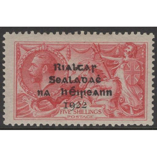 IRELAND SG19 1922 5/- ROSE-CARMINE MTD MINT