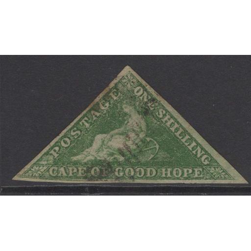 CAPE OF GOOD HOPE SG21 1863 1/- BRIGHT EMERALD-GREEN USED