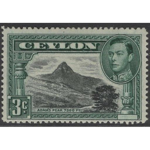CEYLON SG387c 1941 3c BLACK & DEEP BLUE-GREEN p14 MTD MINT