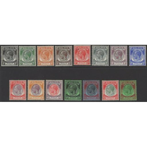 MALAYA STRAITS SETTLEMENTS SG260/74 1936-7 DEFINITIVE SET MTD MINT