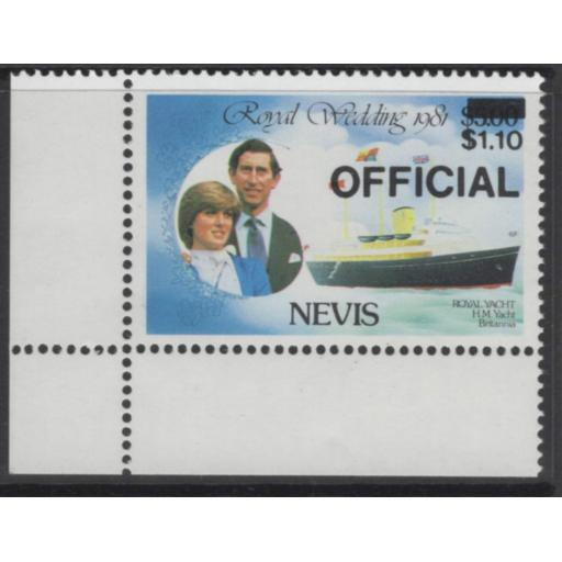NEVIS SGO27a 1983 $1.10 on $5 ROYAL WEDDING BLACK SURCHARGE INVERTED MNH