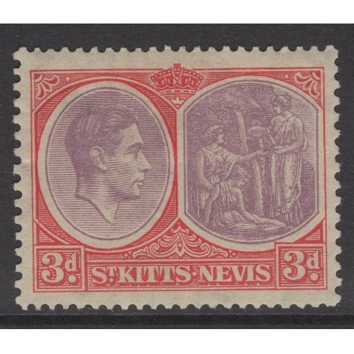 ST.KITTS-NEVIS SG73 1938 3d DULL REDDISH PURPLE & SCARLET MTD MINT