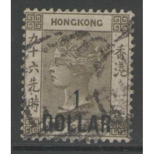 HONG KONG SG42 1885 $1 on 96c GREY-OLIVE USED