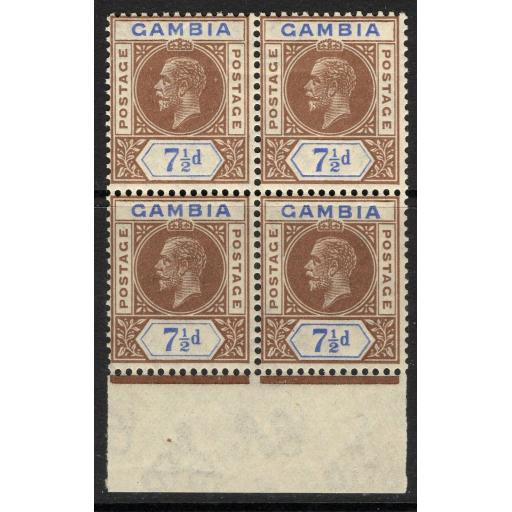 GAMBIA SG115x 1921 7½d BROWN & BLUE WMK REVERSED MTD MINT BLOCK OF 4 LIGHT BEND