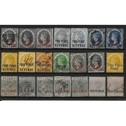 ST.LUCIA 1882-4 SELECTION OF 20 + REVENUE STAMPS MAINLY USED