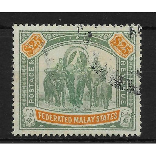 MALAYA FMS SG51 1909 $25 GREEN & ORANGE USED
