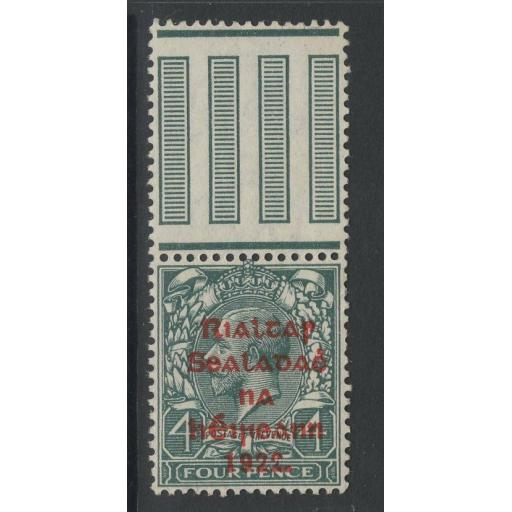 "IRELAND SG37(HIB.V30) 1922 4d GREY-GREEN BROKEN ""2"" IN 1922 MNH(MTD IN MARGIN)"