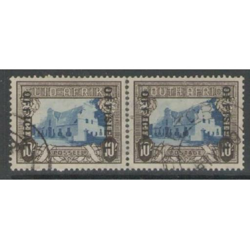 SOUTH AFRICA SGO29 1940 10/= BLUE & SEPIA USED WITH PERF SEPARATION STRENGTHENED