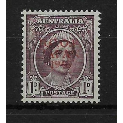 AUSTRALIA-OCCUPATION FORCE SGJ2 1946 1d BROWN-PURPLE WITH RED TRIAL OVPT MNH