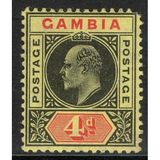 "GAMBIA SG76a 1909 4d BLACK & RED/YELLOW ""DENTED FRAME"" MTD MINT DAMAGED CORNER"
