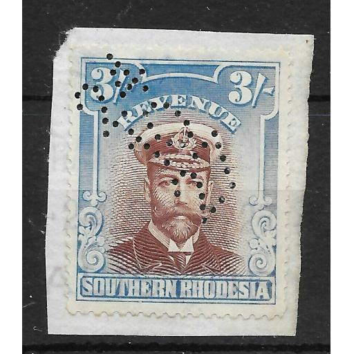SOUTHERN RHODESIA Bft 1 1924 3/= BLUE & BROWN REVENUE USED ON PIECE