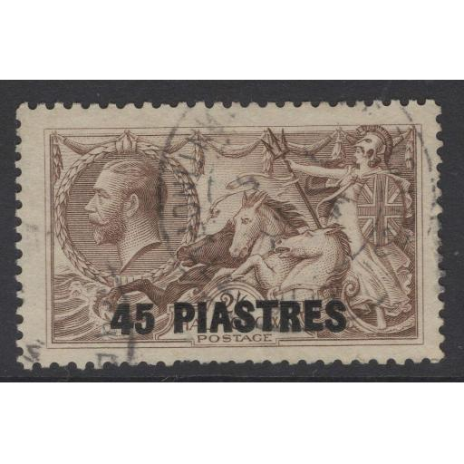 BRITISH LEVANT SG48 1921 45pi on 2/6 CHOCOLATE-BROWN USED