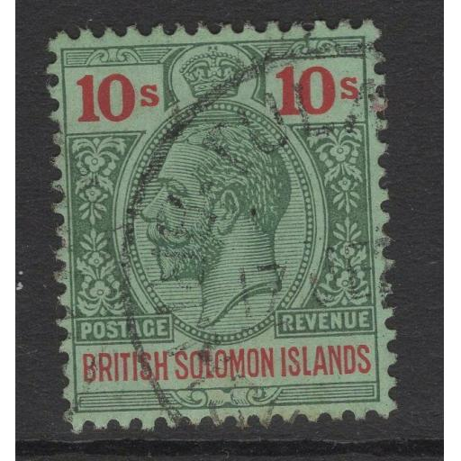 BRITISH SOLOMON IS. SG37 1914 10/= GREEN & RED/GREEN FINE USED