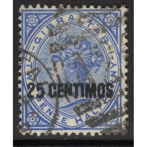 """GIBRALTAR SG18b 1889 25c on 2½d BRIGHT BLUE """"BROKEN N"""" VARIETY USED"""
