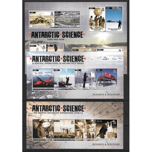 BRITISH ANTARCTIC TERR. SGMS567/568/569 2011 ANTARCTIC SCIENCE MNH
