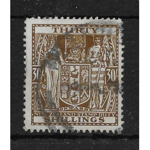 NEW ZEALAND SGF205 1946 30/= BROWN ARMS USED