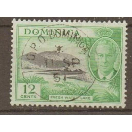 DOMINICA SG128a 1951 12c MISSING C IN WMK FINE USED