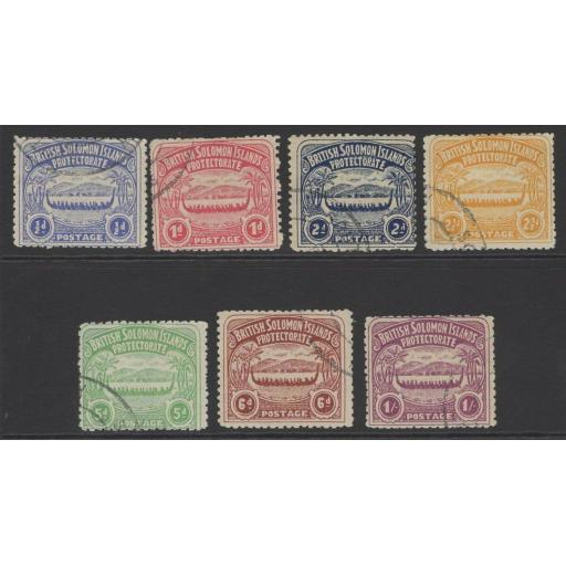 BRITISH SOLOMON IS. SG1/7 1907 DEFINITIVE SET USED (2d HAS HINGE THIN)