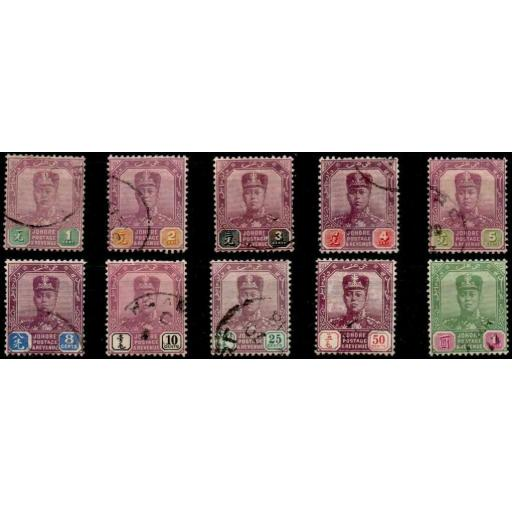 MALAYA JOHORE SG78/87 1910 DEFINITIVE SET OF 10 USED