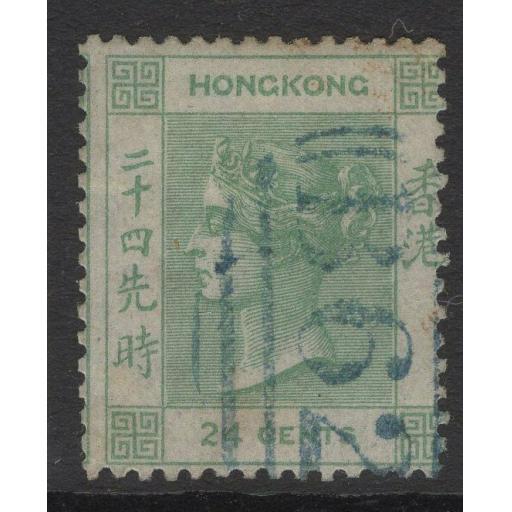 HONG KONG SG5 1862 24c GREEN USED