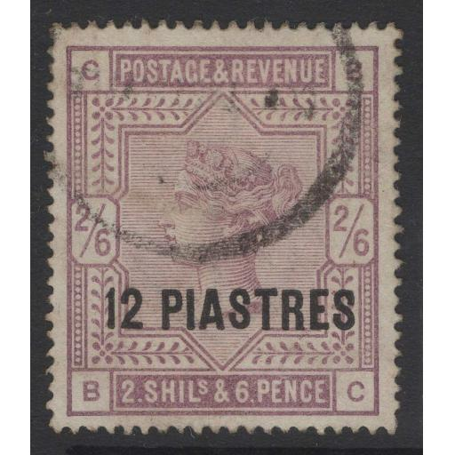 BRITISH LEVANT SG3a 1888 12pi on 2/6 LILAC ON WHITE PAPER USED