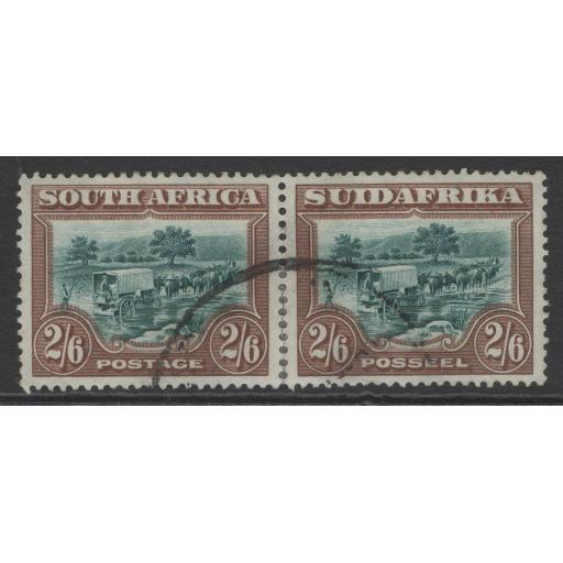 SOUTH AFRICA SG37 1927 2/6 GREEN & BROWN PERFS REINFORCED AT BASE USED
