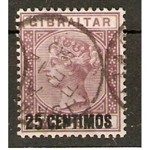 GIBRALTAR SG17b 1889 25c on 2d BROWN-PURPLE BROKEN N VARIETY USED