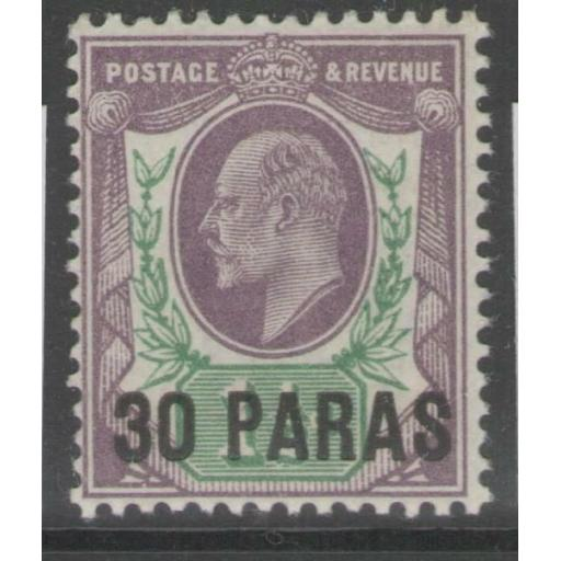 BRITISH LEVANT SG29a 1911 30pa on 1½d PALE SLATE-PURPLE & GREEN MTD MINT