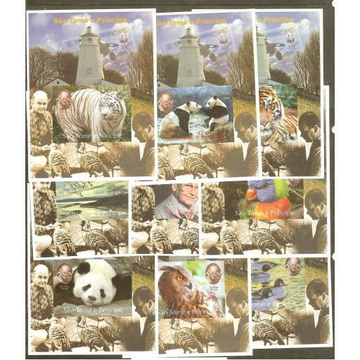 ST.TOME PRINCIPE 2004 WWF OWL/PANDA/BIRDS 9 SHEETS MNH