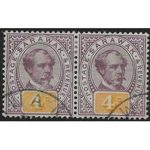 SARAWAK SG11 1888 4c PURPLE & YELLOW USED PAIR