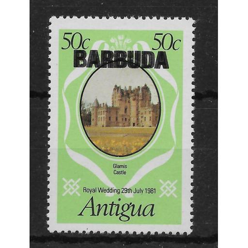BARBUDA SG573a 1981 ROYAL WEDDING 50c OVPT DOUBLE MNH