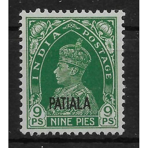 INDIA-PATIALA SG100 1941 9p GREEN MTD MINT