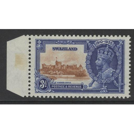 SWAZILAND SG23b 1935 3d SILVER JUBILEE WITH SHORT EXTRA FLAGSTAFF MNH