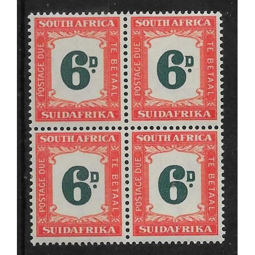 SOUTH AFRICA SGD38 1949 6d GREEN & BRIGHT ORANGE MNH BLOCK OF 4