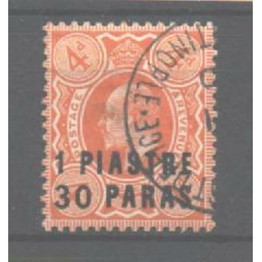 BRITISH LEVANT SG19 1909 1pi30 ON 4d BROWN ORANGE USED