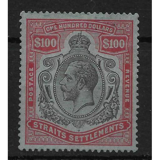 MALAYA STRAITS SETTLEMENTS SG240c 1923 $100 BLACK & CARMINE ON BLUE USED