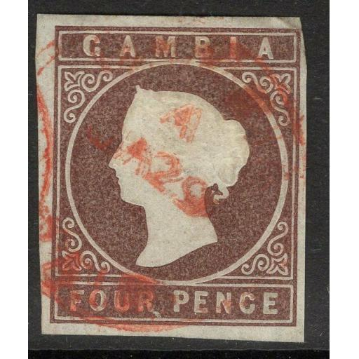 GAMBIA SG6 1874 4d PALE BROWN FINE USED