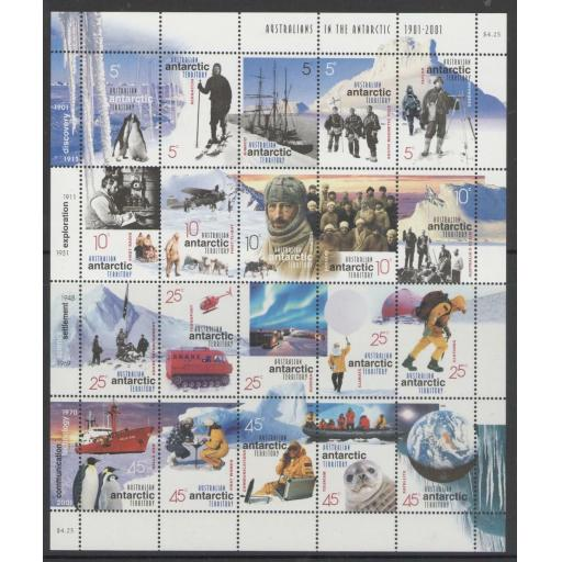 AUSTRALIAN ANTARCTIC TERR SG132a 2001 ANTARCTIC EXPLORATION SHEETLET MNH