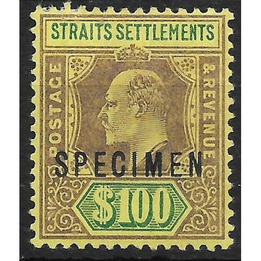 MALAYA STRAITS SETTLEMENTS SG122s 1903 $100 PURPLE & GREEN ON YELLOW SPEC LMM