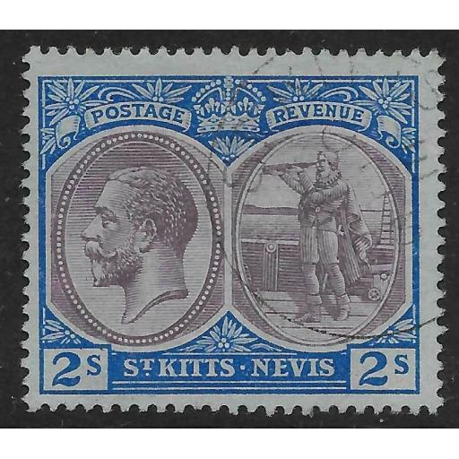 ST.KITTS-NEVIS SG32 1920 2/= DULL PURPLE & BLUE/BLUE FINE USED