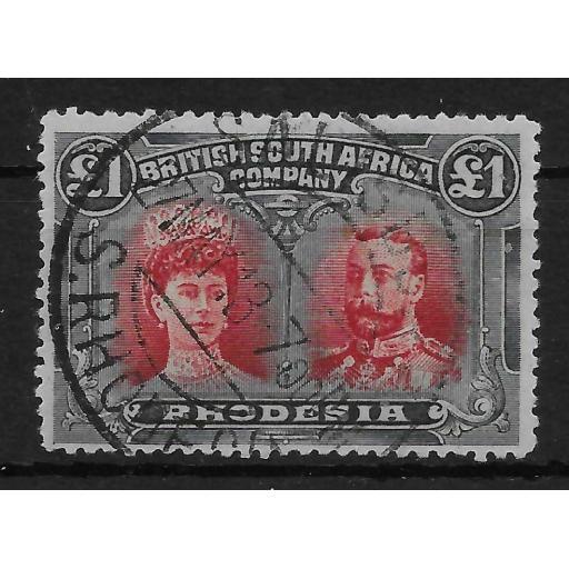 RHODESIA SG165 1910-3 1 CARMINE-RED & BLUISH-BLACK DOUBLE HEAD USED