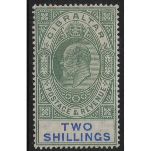 GIBRALTAR SG52 1903 2/= GREEN & BLUE MTD MINT