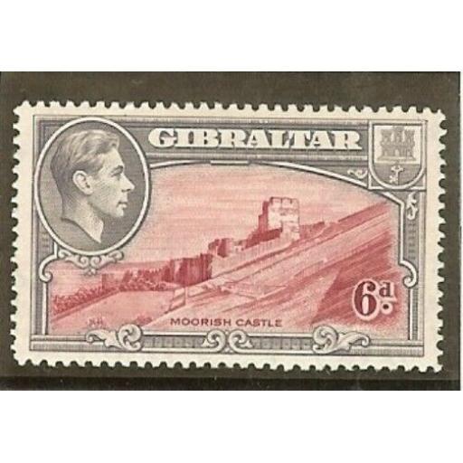 GIBRALTAR SG126a 1938 6d CARMINE & GREY-VIOLET PERF14 MTD MINT