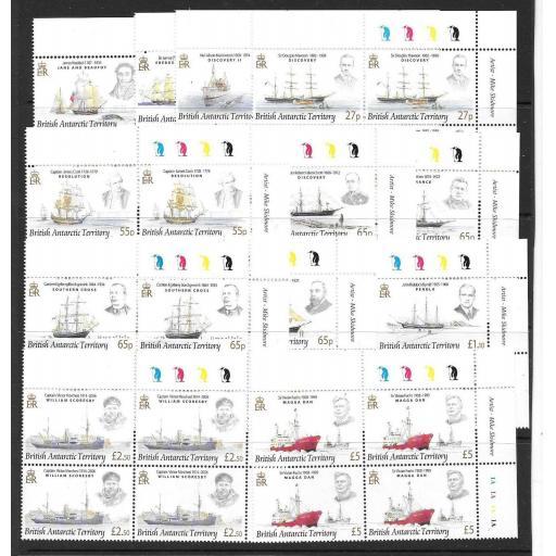 BRITISH ANTARCTIC TERR. SG461/72 2008 EXPLORERS & SHIPS IN BLOCKS OF 4 MNH