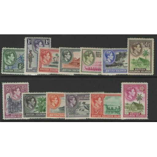 BRITISH SOLOMON IS. SG60/72 1939-51 DEFINITIVE SET MOUNTED MINT