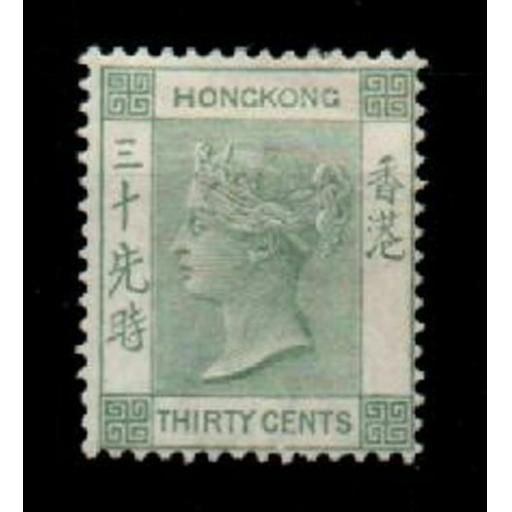 HONG KONG SG39a 1891 30c GREY-GREEN MTD MINT