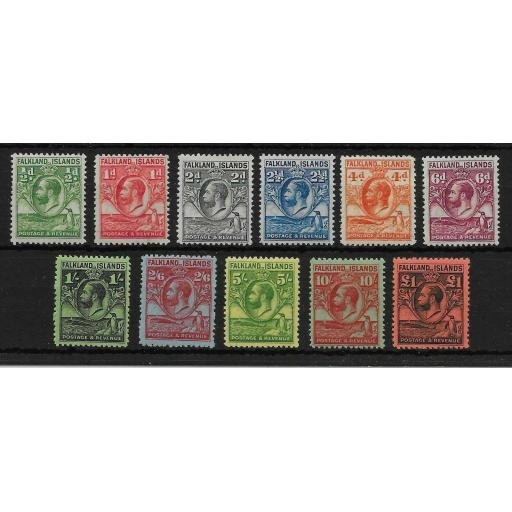 FALKLAND ISLANDS SG116/26 1929 WHALES & PENGUINS SET MTD MINT